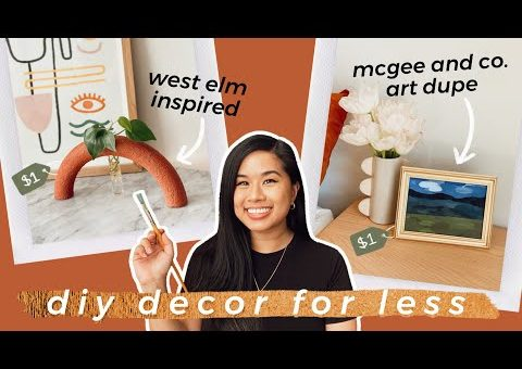 DIY $1 LIVING ROOM DECOR FOR LESS | Dollar Tree West Elm Arch Bud Vase + Abstract Landscape Painting