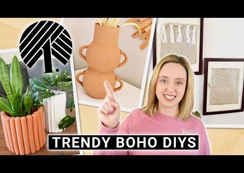 DIY Trendy Boho DOLLAR STORE Home Decor 💵 Faux Pottery Vase, Fluted Planter, Textile Wall Decor