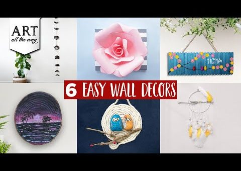 6 Easy Wall Decors  | Wall Decorating | DIY Room Decor | Home Decor Ideas | Easy Crafts & Painting