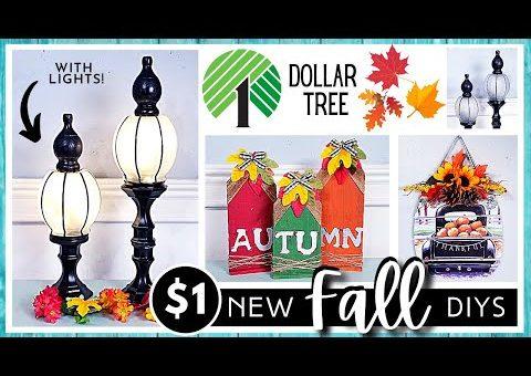 *NEW* DOLLAR TREE DIY   FALL & AUTUMN Farmhouse Home Decor   Lamp Post Lantern   FARM FRESH Calendar